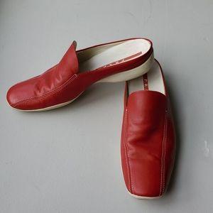 Prada red leather slip on loafer